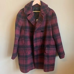 NWT Coach cranberry plaid pea coat